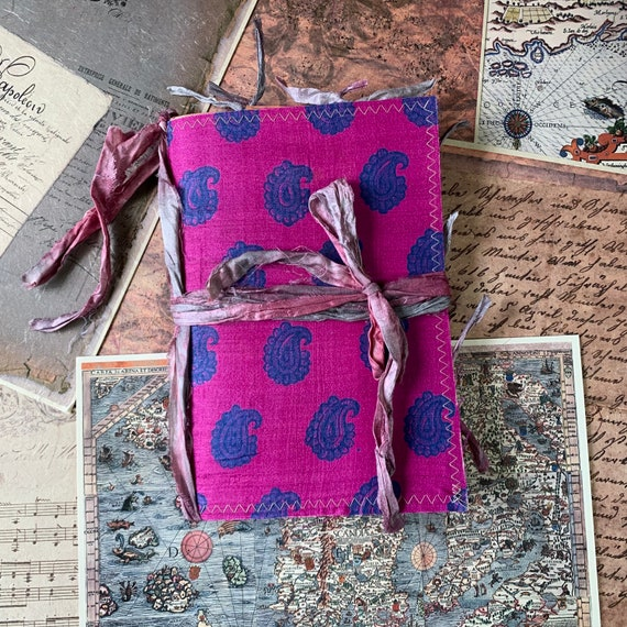 Purple and Blue Paisley, Writing Journal, Notebook, Travel Journal, Junk Journal, Boho, Nomad Collection, Unique Writing Journal
