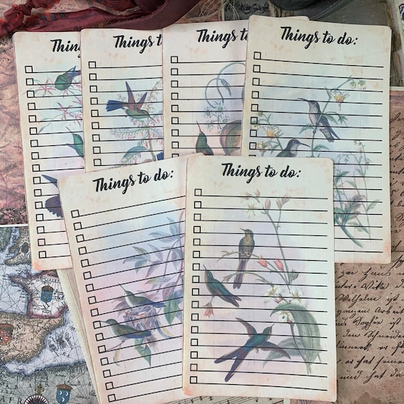 Lined To Do List Cards, 5 x 8 inches, Diary Paper, Writing Paper, Stationery Set, Scrapbook Papers, Junk Journals, Hummingbirds