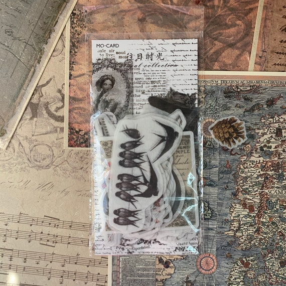 Gothic Vellum Journal Stickers, Junk Journal Kit, Ephemera Set, Stationery, Travel Journal, Vintage Style, Scrapbook, Bullet Journal