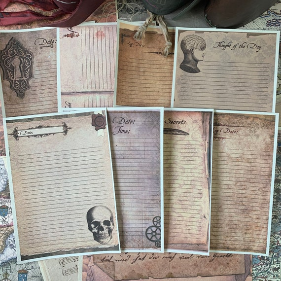 Steampunk Writing Papers, Journal Cards, Set of 8, 5 x 7 inches, Writing Set, Stationery Set, Victorian Stationery, Skull, Keys, Watch