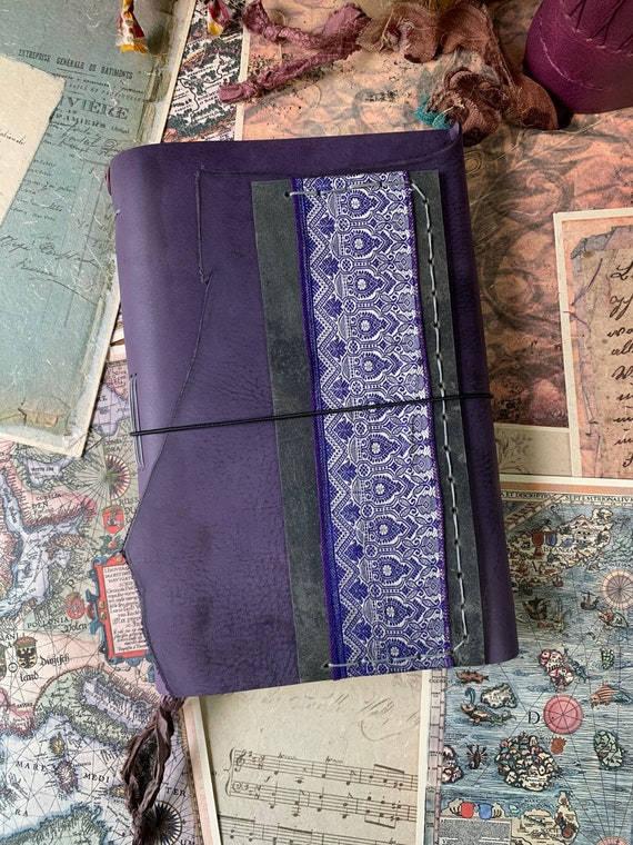 Purple Leather Handmade Journal, Large Journal, Unique, Vintage Style, Bullet Journal, Scrapbook Journal, Leather Notebooks