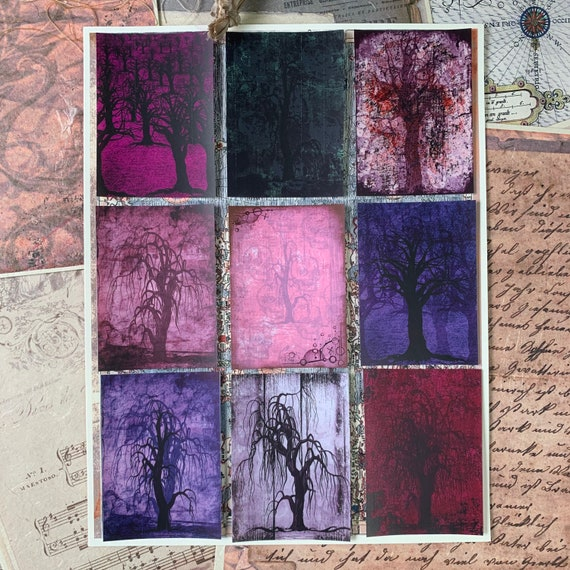 Grungy Color Trees, Stickers, Ephemera Set, Stationery, Junk Journal Kit, Travelers Notebook, Scrapbook, Book of Shadows, Haunted Trees