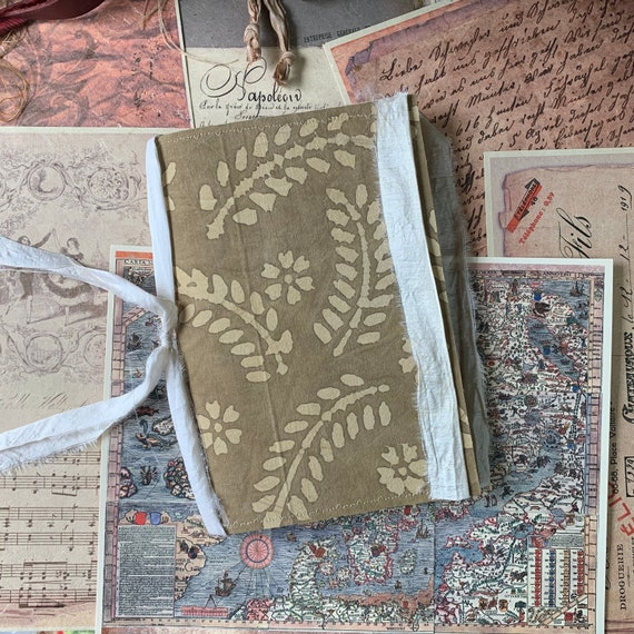 Brown Batik, Neutral Colors, Junk Journal, Writing Journal, Notebook, Travel Journal, Nomad Collection, Unique Writing Journal, Handmade