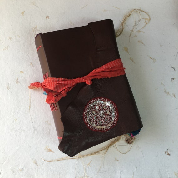 Junk Journal, Brown Leather Journal, Travel Journal, Art Journal, Unique Journal, Travel Notebook, Book of Shadows