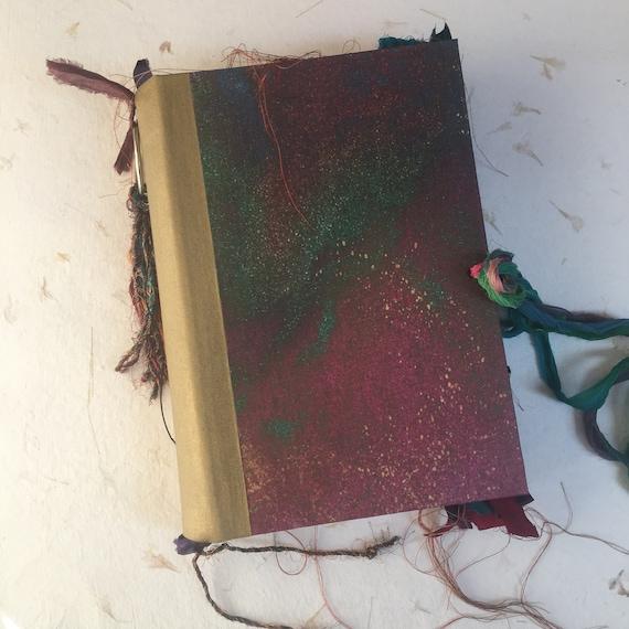 Junk Journal, Magenta and Green Journal, Unique Journal, Sari Silk Trim, Wedding, Guest Book, Art Journal, Scrapbook, Book of Shadows, 9 x 6