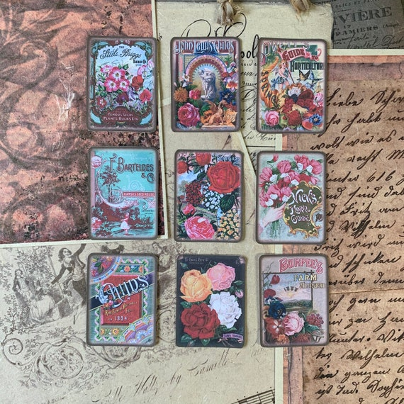 Vintage Seed Packet Stickers, Ephemera Set, Stationery Set, Flowers, Junk Journal Kit, Travel Journal, Sticker Set, Vintage Style, Scrapbook
