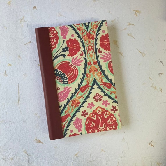 Fountain Pen Friendly Writing Journal,  Red Poppies, Vintage Style, Writing Journal, Notebook, Travel Journal, Agenda, Sketchbook, Handmade