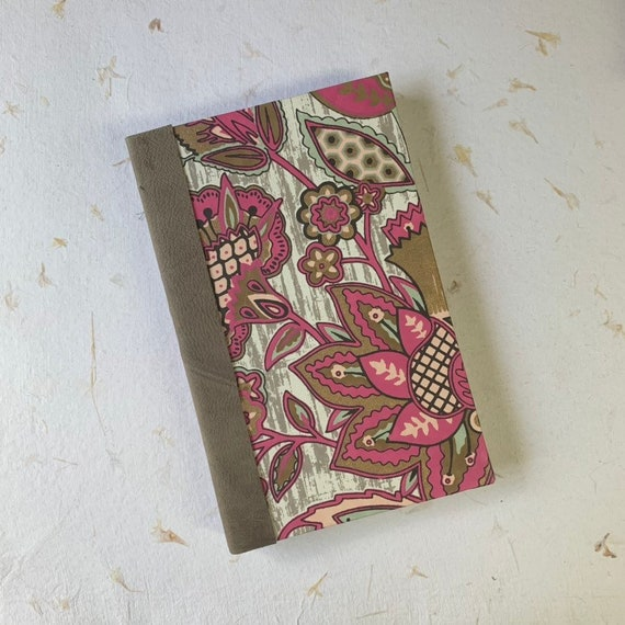Fountain Pen Friendly Writing Journal, Pink and Gray Floral, Vintage Style, Writing Journal, Notebook, Travel Journal, Agenda, Sketchbook