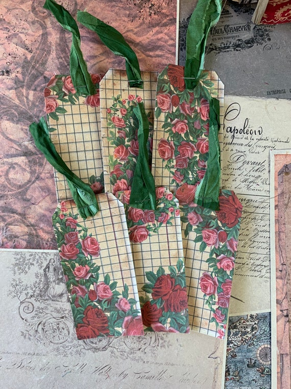 Vintage Rose Tags, Ephemera Set, Gift Tags, Stationery Set, Junk Journal Kit, Travel Journal, Scrapbook Embellishments, V3