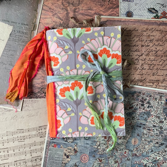 Gray and Orange Floral, A5 Diary, Junk Journal, Writing Journal, Notebook, Travel Journal, Nomad Collection, Journal Insert, TN