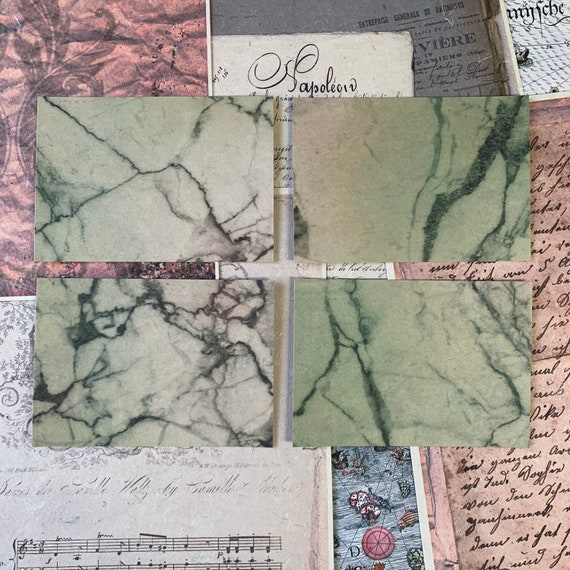Green Marbled Postcards, Writing Papers, Journal Cards, Set of 4, Writing Set, Stationery Set, Victorian Stationery, Vintage Style