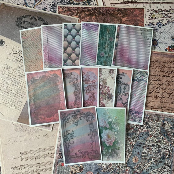 Pink and Green Floral Set of 14, 3.5 x 5 inch, Full Color, Note Paper, Office Paper, Scrapbook Paper, Ephemera, Stationery Set