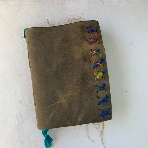 Leather Junk Journal, Distressed Brown, Vintage Sari Trim, Handmade, Unique Journal, Artist Journal, Travel Journal, Bullet Journal