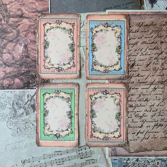 Vintage Frames, French Wallpaper, Vintage Style, Journal Cards, Set of 4, 3 x 5 inches, Stationery Set, Writing Set, Gifts, Bullet Journal