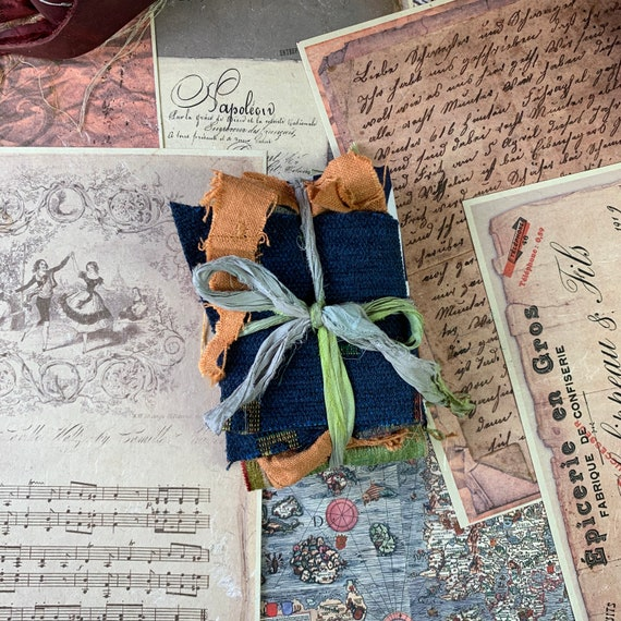 Fabric Scraps for Junk Journals, Navy and Orange, Travel Journal, Scrapbook Supplies, Journaling Supply, Ephemera Set, Junk Journal Kit,