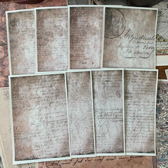 Antique Script Writing Papers, Journal Cards, Set of 8, 4 x 6 inches, Writing Set, Victorian Stationery, Scrapbook Paper, Travelers Notebook