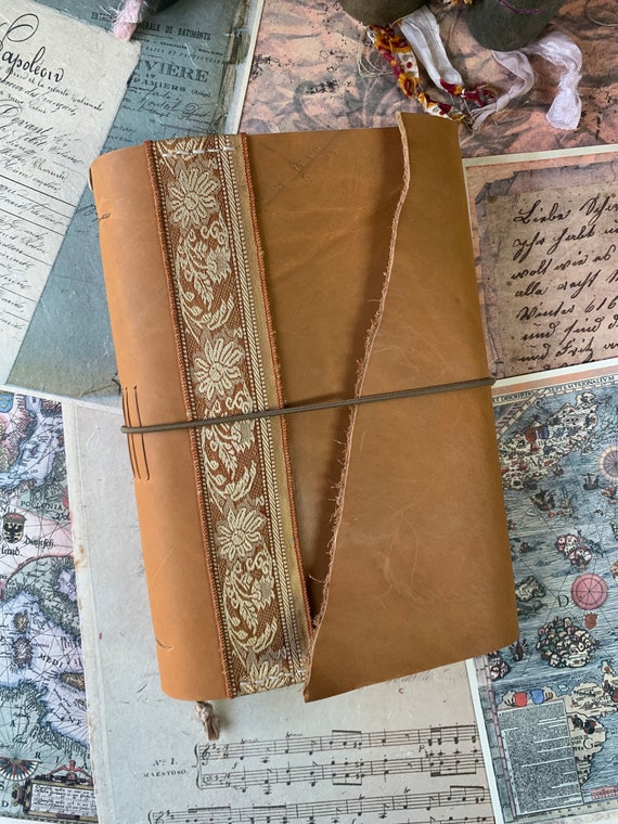 Leather Handmade Journal, Large Journal, Book of Shadows, Grimoire, Unique, Vintage Style, Bullet Journal, Scrapbook Journal, Vintage Sari