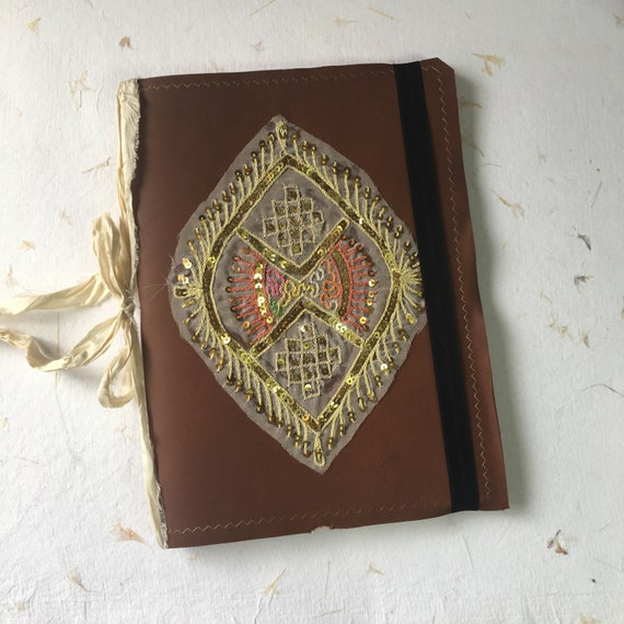 Leather Journal with Indian Textile, Notebook, Calligraphy, Art Journal, Cotton Paper, Fountain Pen Friendly, Sketchbook, Travel Journal, B5