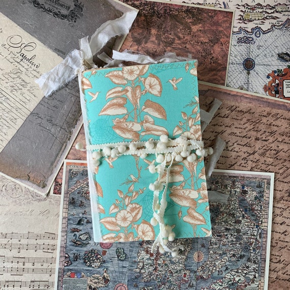 Junk Journal, Writing Journal, Notebook, Mint Green and Ivory, Travel Journal, Nomad Collection, Bridesmaid Gift, Unique Writing Journal