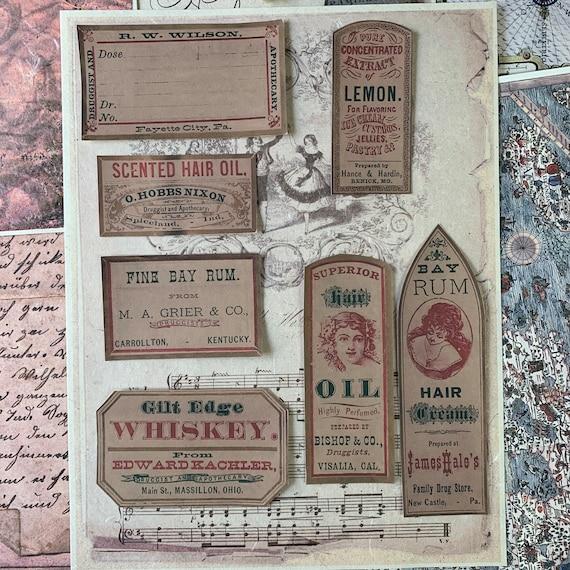 Vintage Apothecary Stickers, Ephemera Set, Stationery Set, Junk Journal Kit, Travel Journal, Liquor Labels, Sticker Set, Beauty Ephemera