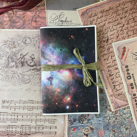 Junk Journal, Space Themed, Galaxy, Travel Journal, Notebook, Paperback, Writing Journal, Gifts for Writers, Tea Stained Paper, Notebook