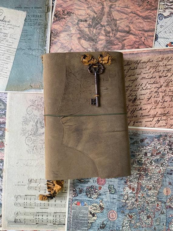 Velvety Leather Handmade Journal, Skeleton Key, Large Journal, Book of Shadows, Unique, Vintage Style, Bullet Journal, Scrapbook Journal