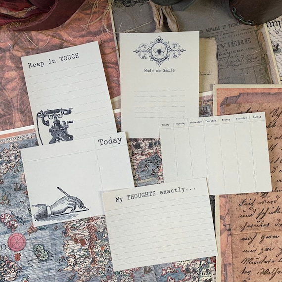 Journaling Cards, Ephemera Set, Message Cards, Stationery Set, Junk Journal Kit, Travel Journal, Office and Writing