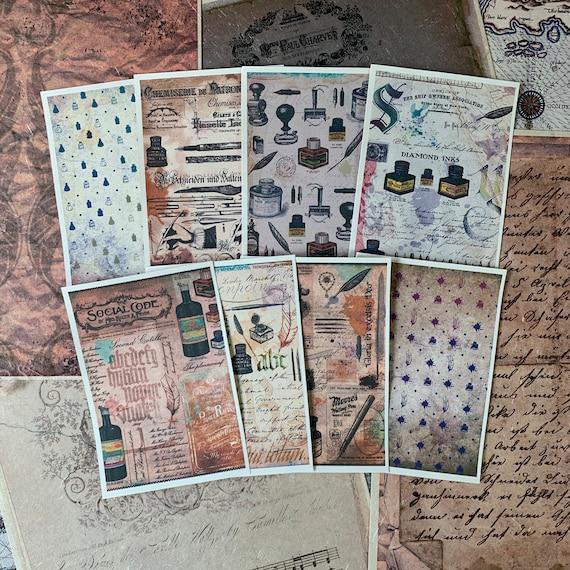 Vintage Writing Set of 8, 3.5 x 5 inch,  Full Color, Note Paper, Scrapbook Paper, Ephemera, Stationery Set, Bullet Journal, Junk journal