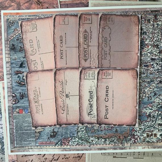 Post Card Journaling Cards, Ephemera Set, Message Cards, Stationery Set, Junk Journal Kit, Travel Journal, Office and Writing