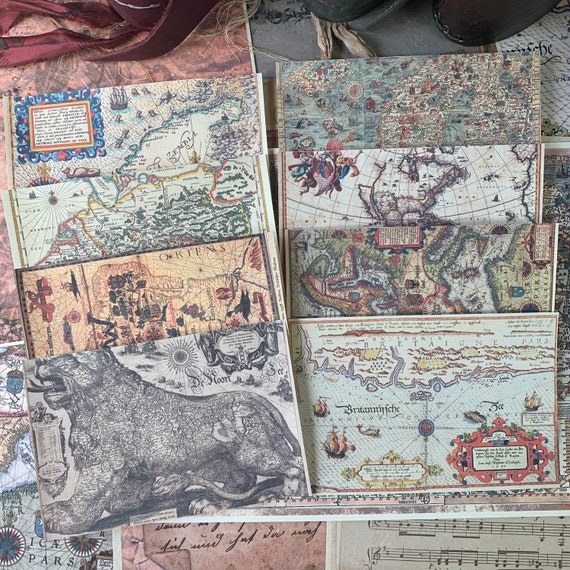 Vintage Maps, Full Color, Set of 8, 4 x 6 inch,  Note Paper, Pirate Maps, Scrapbook Paper, Ephemera, Stationery Set, Bullet Journal