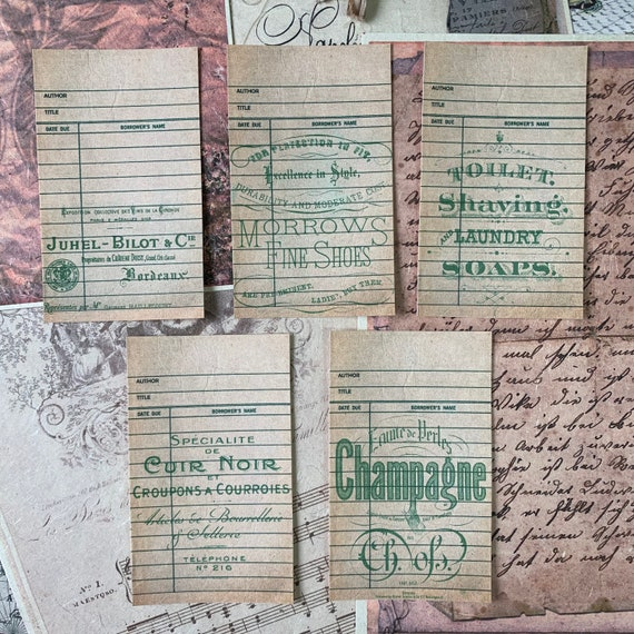Journaling Cards, Ephemera Set, Library Cards, Stationery Set, Junk Journal Kit, Travel Journal, Office and Writing, Scrapbook Paper, Green
