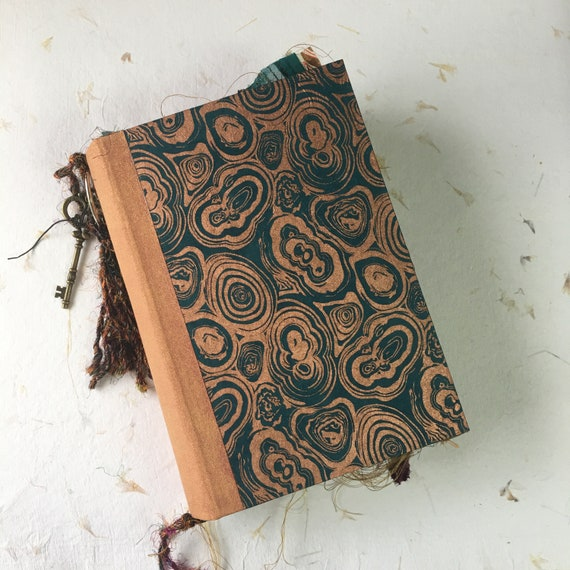 Junk Journal, Blue and Copper, Handmade, Guest Book, Art Journal, Scrapbook, Writing Journal, Book of Shadows, Sari Silk Trim,  9 x 6 in, A5