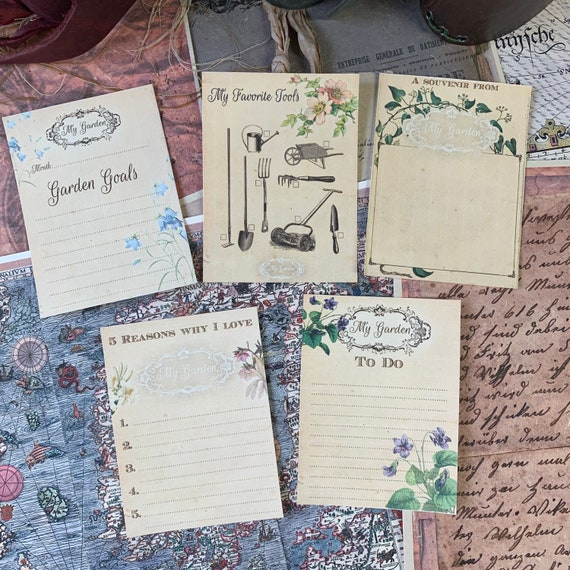 Journaling Cards, Gardening, Ephemera Set, Stationery Set, Junk Journal Kit, Travel Journal, Office and Writing