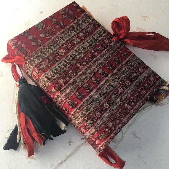 Junk Journal, Red Floral Silk, Art Journal, Scrapbook, Writing Journal, Handmade, Guest Book, Wedding Book, Sari Silk Trim,  9 x 6 in