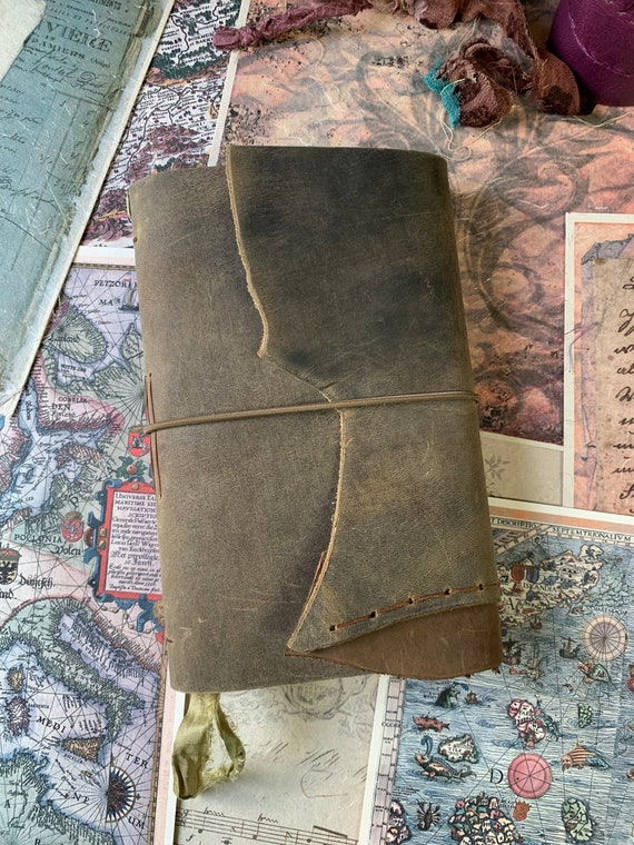 Medium Leather Journal, Brown, Ivory Paper, Unique Journal, Travel Journal, Gift for Writers, Sketchbook Journal, Lay Flat Binding