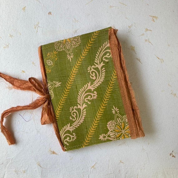 Green and Gold Silk, Boho, Junk Journal, Writing Journal, Notebook, Travel Journal, Nomad Collection, Unique Writing Journal