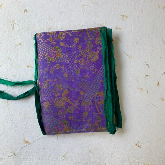 Travel Journal, Junk Journal, Purple and Gold Silk, Boho, Vintage Silk, Writing Journal, Notebook, Nomad Collection, Unique Writing Journal