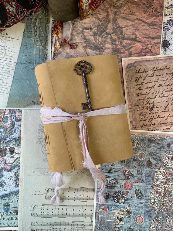 Key to Your Thoughts: Leather Journal, Tea Stained Handmade Paper, Unique, Travel Art Journal, Handmade, Cotton Paper