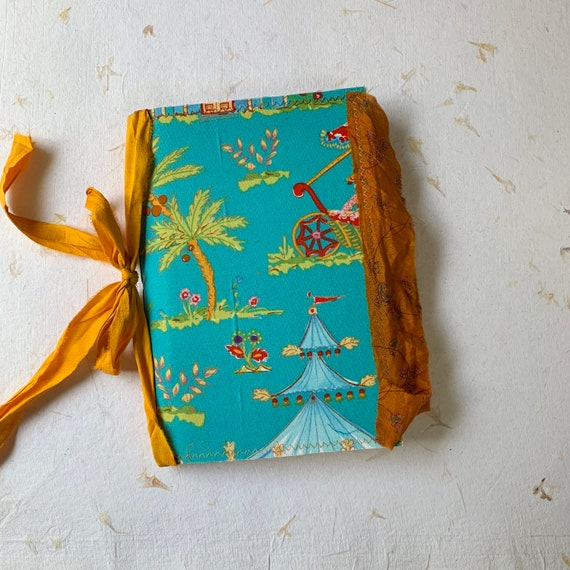 Writing Journal, Notebook, Travel Journal, Junk Journal, Tropical, Blue and Gold, Boho, Nomad Collection, Unique Writing Journal