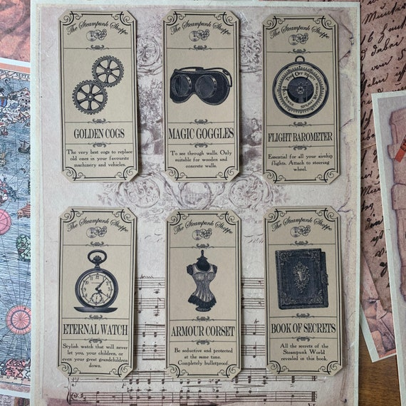 Steampunk Stickers, Ephemera Set, Stationery Set, Junk Journal Kit, Travel Journal, Sticker Set, Vintage Style