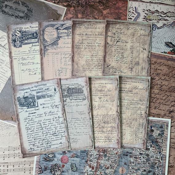 Vintage Receipts Full Color, Set of 8, 4 x 6 inch, Note Paper, Scrapbook Paper, Ephemera, Stationery Set, Bullet Journal, Journal Cards
