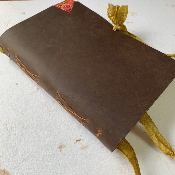 Soft Cover Leather Journal, Tea Stained Paper, Unique Journal, Travel Journal, Gift for Writers, Keepsake Journal, Lay Flat Binding