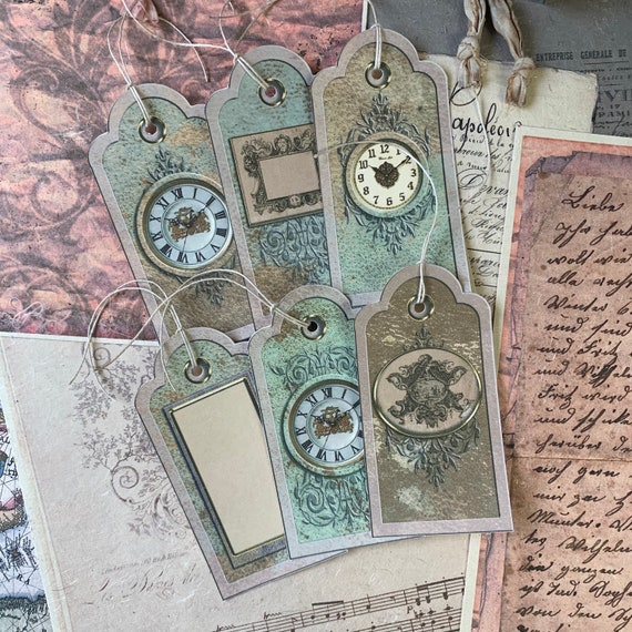 Baroque Tags, Ephemera Set, Gift Tags, Stationery Set, Junk Journal Kit, Travel Journal, Scrapbook Embellishments, Clocks, Cherubs