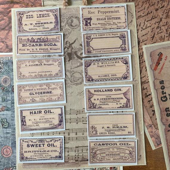 Apothecary Stickers, Ephemera Set, Stationery Set, Junk Journal Kit, Travel Journal, Sticker Set, Vintage Style, Medical Ephemera