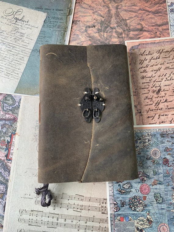 Leather Handmade Journal, Large Journal, Book of Shadows, Grimoire, Unique, Vintage Style, Bullet Journal, Scrapbook Journal, Hand Stitching