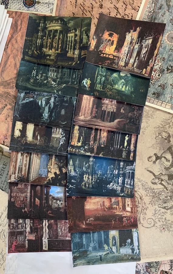 Architectural Ruins Ephemera, Bullet Journaling, Vintage Ephemera, Stationery Set, Junk Journal, Dark Ephemera, Dark Journaling