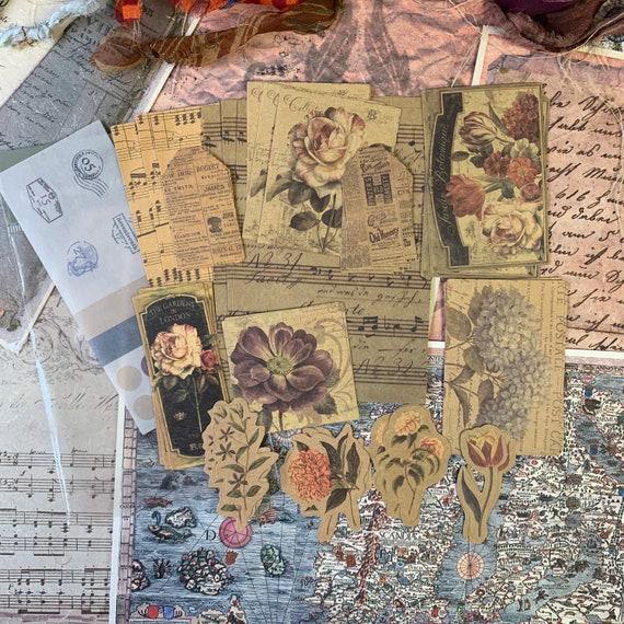 Vintage Botanical Kraft Paper, Junk Journal Kit, Ephemera Set, Stationery, Travel Journal, Vintage Style, Scrapbook Paper, Bullet Journal