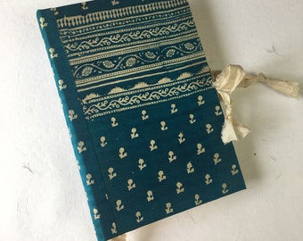 Teal and Ivory Floral | Sari Silk Journal | Art Journal | Photo Album | Hard Cover | Writing Journal | Wedding Guest Book | Lay Flat Journal