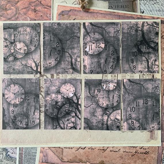 Clocks & Spooky Tree Stickers, Ephemera Set, Stationery Set, Gothic, Junk Journal Kit, Travel Journal, Sticker Set, Vintage Style, Scrapbook