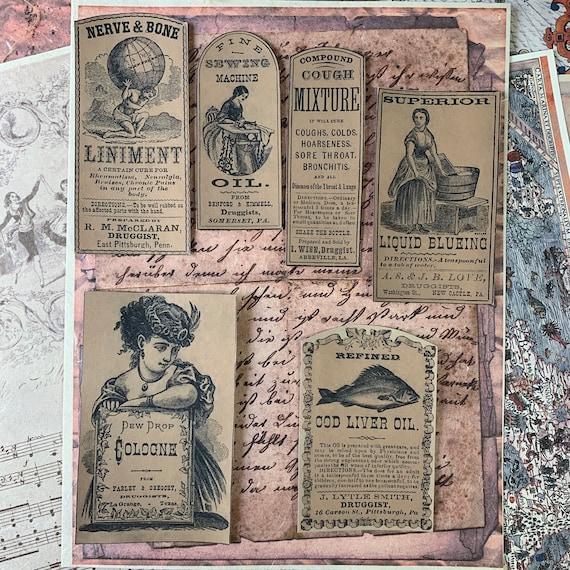 Ephemera Set, Stationery Set, Junk Journal Kit, Vintage Apothecary Stickers, Travel Journal, Household Labels, Sticker Set, Beauty Ephemera